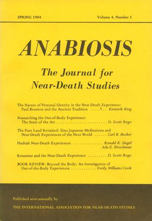 Primary view of object titled 'Anabiosis: The Journal of Near-Death Studies, Volume 4, Number 1, Spring 1984'.