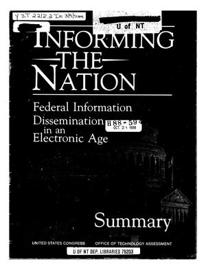 Primary view of object titled 'Informing the Nation: Federal Information Dissemination in an Electronic Age'.