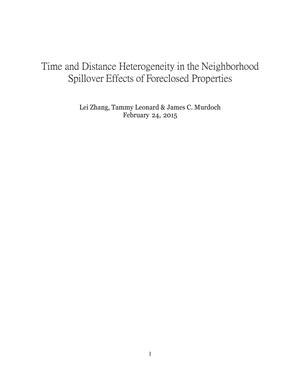 Primary view of object titled 'Time and Distance Heterogeneity in the Neighborhood Spillover Effects of Floreclosed Properties'.