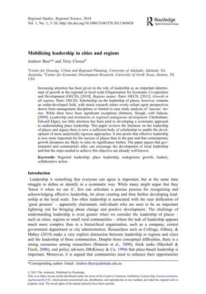 Primary view of object titled 'Mobilizing Leadership in Cities and Regions'.