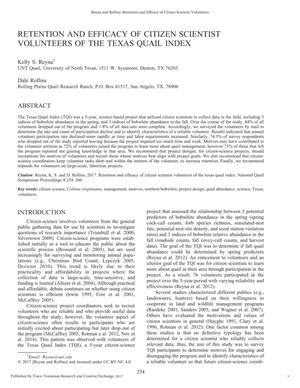 Retention and Efficacy of Citizen Scientist Volunteers of the Texas Quail Index