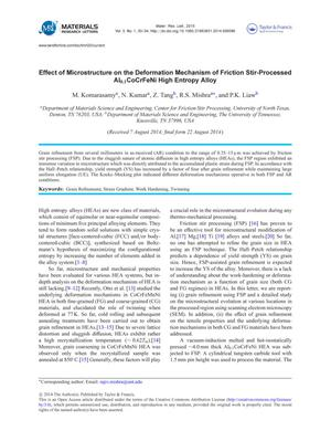 Effect of Microstructure on the Deformation Mechanism of Friction Stir-Processed A₁₀.₁CoCrFeNi High Entropy Alloy