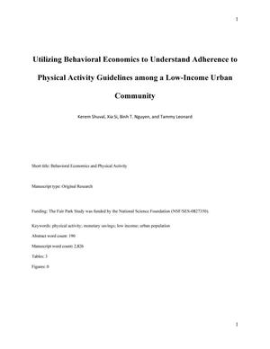 Utilizing Behavioral Economics to Understand Adherence to Physical Activity Guidelines among a Low-Income Urban Community