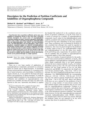 Descriptors for the Prediction of Partition Coefficients and Solubilities of Organophosphorus Compounds