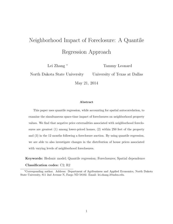 Neighborhood Impact of Foreclosure: A Quantile Regression