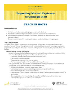 Expanding Musical Explorers at Carnegie Hall Teacher Notes