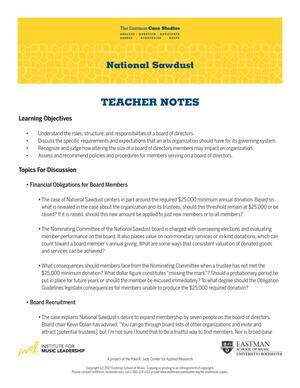 National Sawdust Teacher Notes