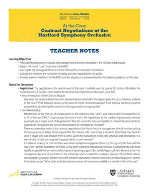 At the Core: Contract Negotiations at the Hartford Symphony Orchestra Teacher Notes