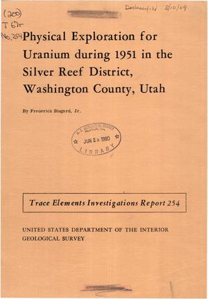 Primary view of object titled 'Physical Exploration for Uranium during 1951 in the Silver Reef District, Washington County, Utah'.