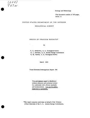 Primary view of Origin of Uranium Deposits