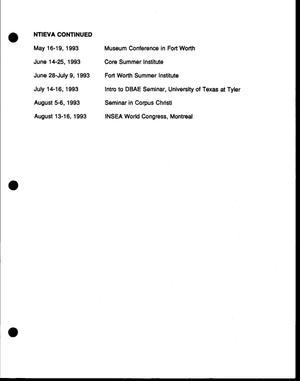 Ntieva Calendar Of Events September 1992 August 1993 Digital Library