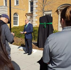 Primary view of object titled 'President Neal Smatresk speaks at Beulah Harriss Gymnasium historic marker ceremony'.