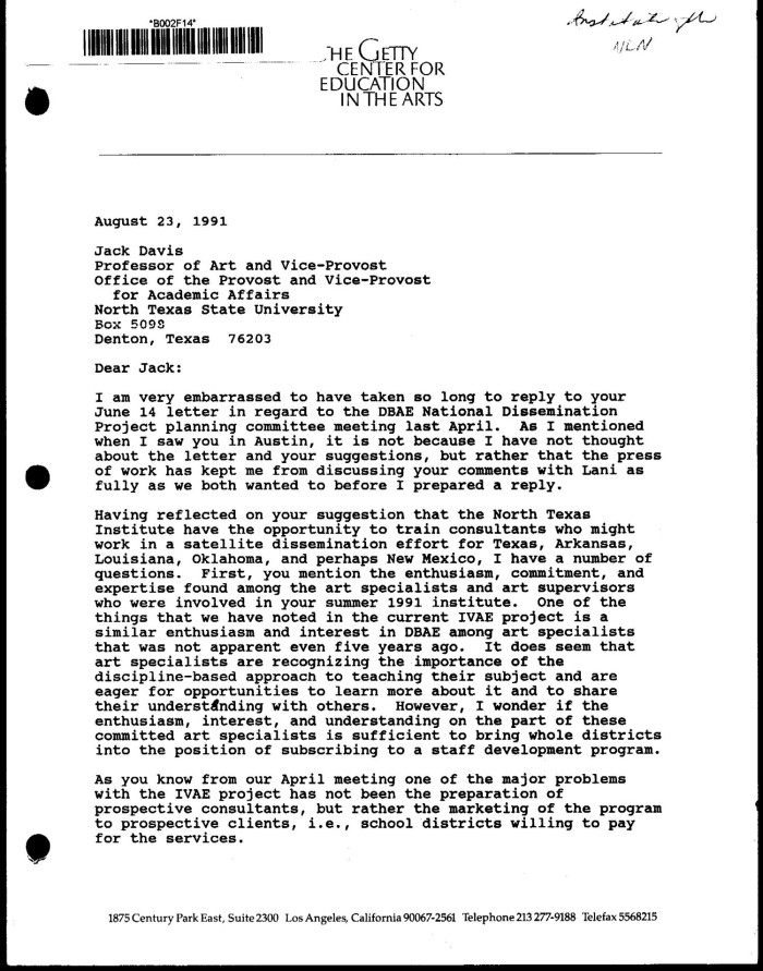 Letter from Mary Ann Stankiewicz to Jack Davis, August 23