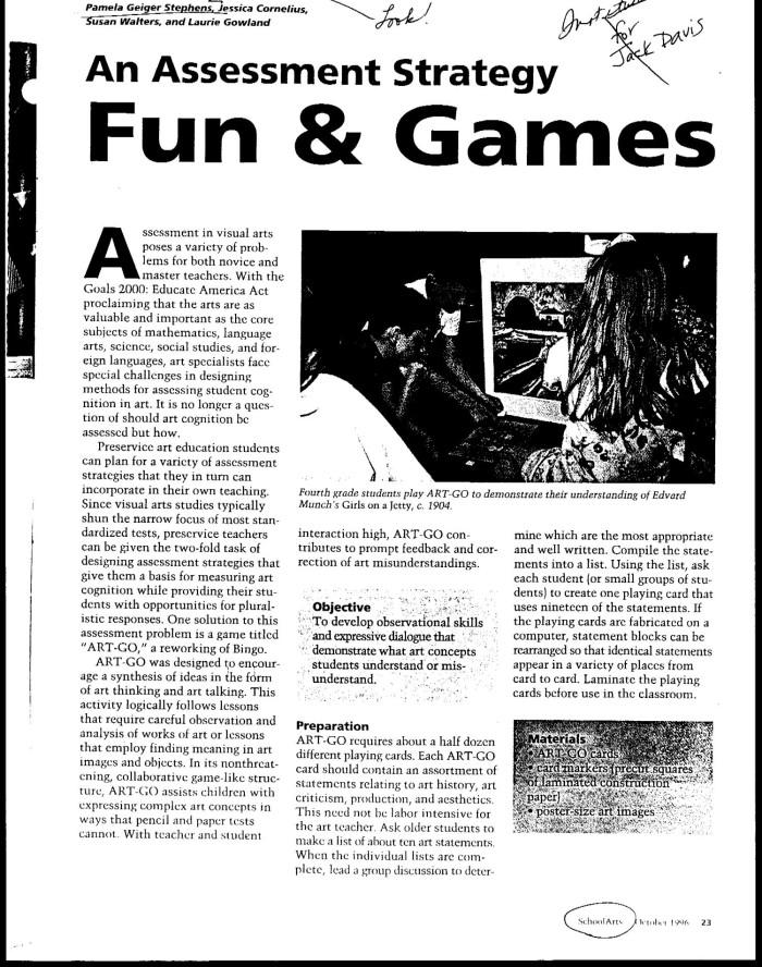 An Assessment Strategy: Fun & Games - Digital Library