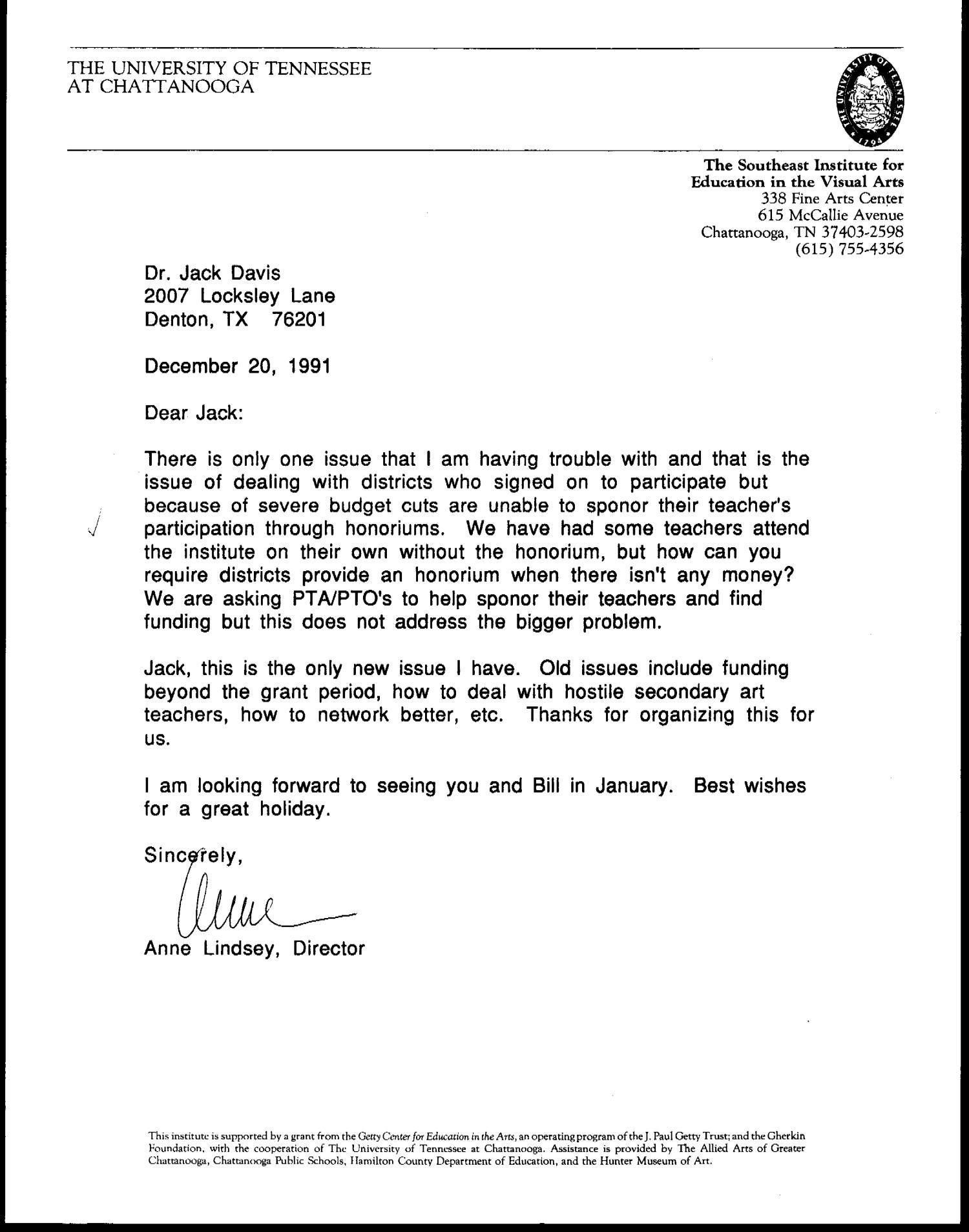 Letter from Anne Lindsey to Jack Davis, December 20, 1991