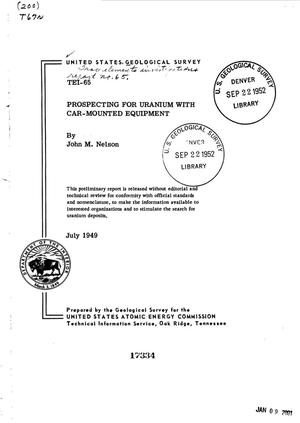 Primary view of Prospecting for Uranium with Car-Mounted Equipment