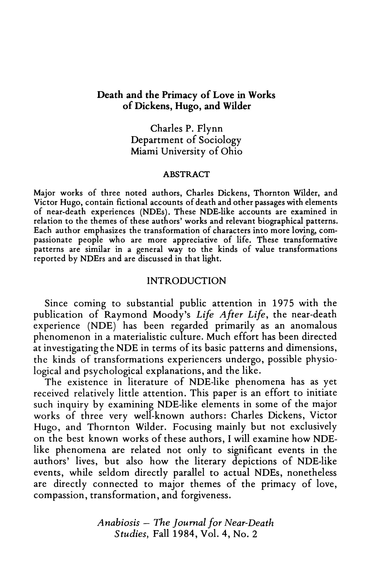 Death and the Primacy of Love in Works of Dickens, Hugo, and Wilder                                                                                                      125