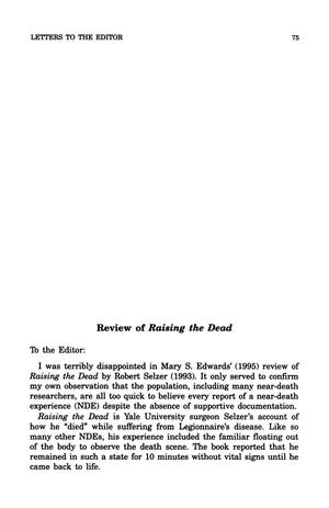 Primary view of object titled 'Letter to the Editor: Review of Raising the Dead'.
