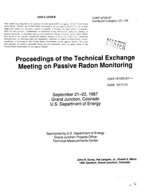 Primary view of object titled 'Proceedings of the technical exchange meeting on passive radon monnitoring'.
