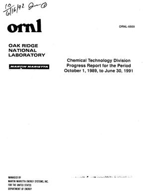 Primary view of object titled 'Chemical Technology Division progress report, October 1, 1989--June 30, 1991'.
