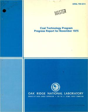 Primary view of object titled 'Coal Technology Program progress report for November 1975. [Hydrocarbonization; solid-liquid separations; chemical research and development; nuclear process heat for coal conversion]'.