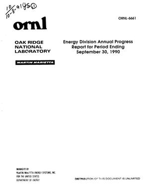Primary view of object titled 'Energy Division annual progress report for period ending September 30, 1990'.