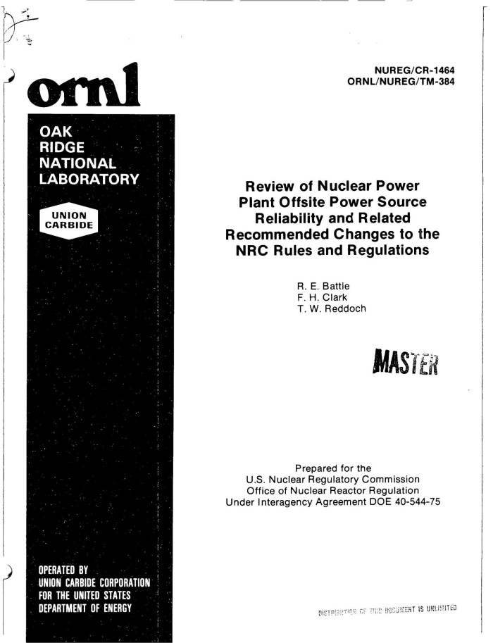 Review Of Nuclear Power Plant Offsite Power Source Reliability And