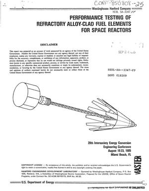 Primary view of object titled 'Performance testing of refractory alloy-clad fuel elements for space reactors'.
