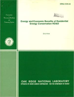 Primary view of object titled 'Energy and economic benefits of residential energy conservation RD and D. [Projections to year 2000]'.
