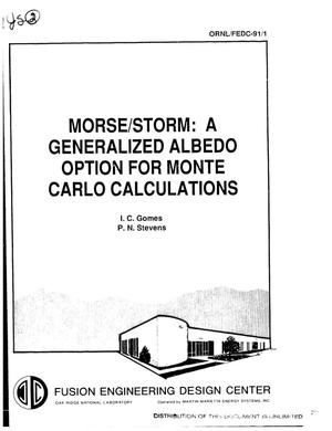 Primary view of object titled 'MORSE/STORM: A generalized albedo option for Monte Carlo calculations'.