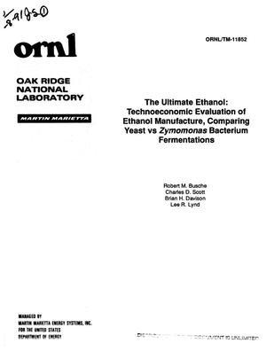 Primary view of object titled 'The ultimate ethanol: Technoeconomic evaluation of ethanol manufacture, comparing yeast vs Zymomonas bacterium fermentations. [Zymomonas mobilis:a5; Saccharomyces cerevisiae:a6]'.