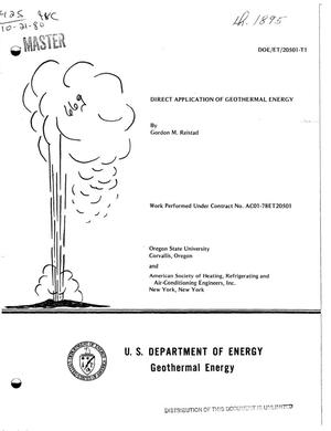 Primary view of object titled 'Direct application of geothermal energy'.