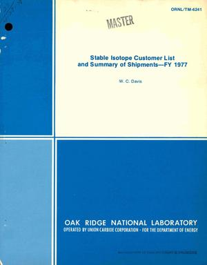 Primary view of object titled 'Stable isotope customer list and summary of shipments, FY 1977'.