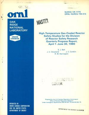 Primary view of object titled 'High-temperature gas-cooled reactor safety studies for the Division of Reactor Safety Research. Quarterly progress report, April 1-June 30, 1980'.