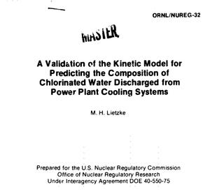 Primary view of object titled 'Validation of the kinetic model for predicting the composition of chlorinated water discharged from power plant cooling systems'.