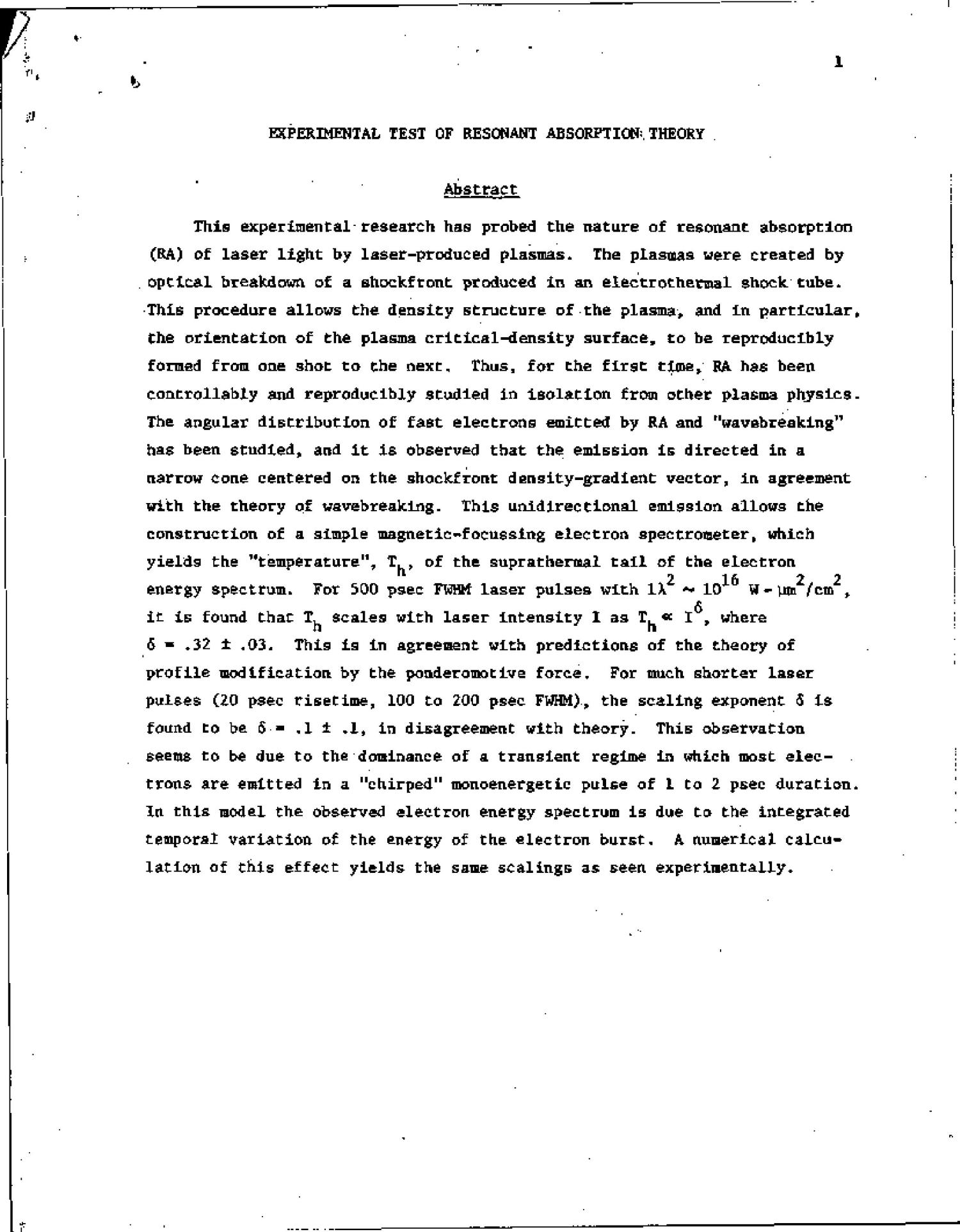 Experimental test of resonant absorption theory. Final report, January 1, 1978-December 31, 1979                                                                                                      [Sequence #]: 4 of 17