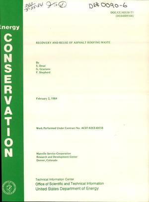 Primary view of object titled 'Recovery and reuse of asphalt roofing waste. Final report'.