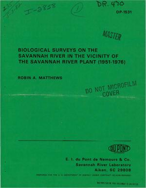 Primary view of object titled 'Biological surveys on the Savannah River in the vicinity of the Savannah River Plant (1951-1976)'.