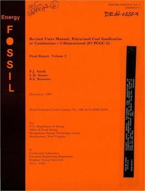 Primary view of object titled 'Revised users manual, Pulverized Coal Gasification or Combustion: 2-dimensional (87-PCGC-2): Final report, Volume 2. [87-PCGC-2]'.