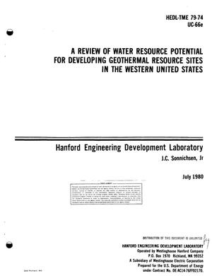 Primary view of object titled 'Review of water resource potential for developing geothermal resource sites in the western United States'.