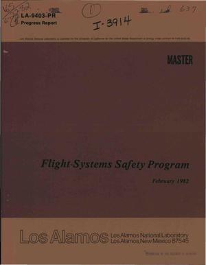 Primary view of object titled 'Flight-systems safety program. Progress report, February 1982'.
