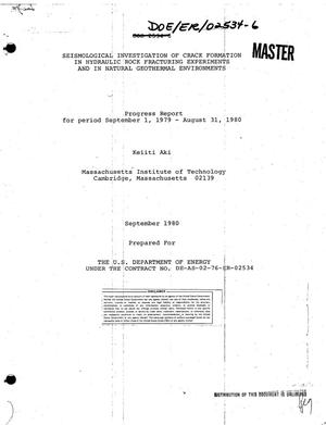 Primary view of object titled 'Seismological investigation of crack formation in hydraulic rock fracturing experiments and in natural geothermal environments. Progress report, September 1, 1979-August 31, 1980'.