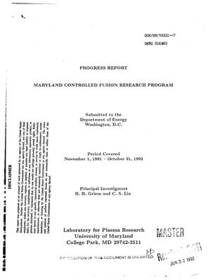 Primary view of object titled 'Maryland controlled fusion research program'.