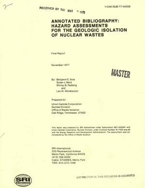 Primary view of object titled 'Annotated bibliography: hazard assessments for the geologic isolation of nuclear wastes. Final report. Center for Resource and Environmental Systems Studies report No. 41'.