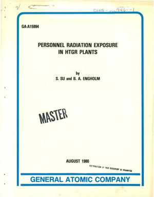 Primary view of object titled 'Personnel radiation exposure in HTGR plants'.