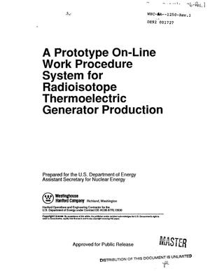 Primary view of object titled 'A prototype on-line work procedure system for radioisotope thermoelectric generator production'.