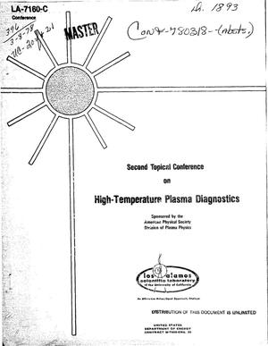Primary view of object titled 'Second topical conference on high-temperature plasma diagnostics'.
