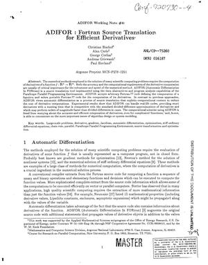 Primary view of object titled 'ADIFOR: Fortran source translation for efficient derivatives'.