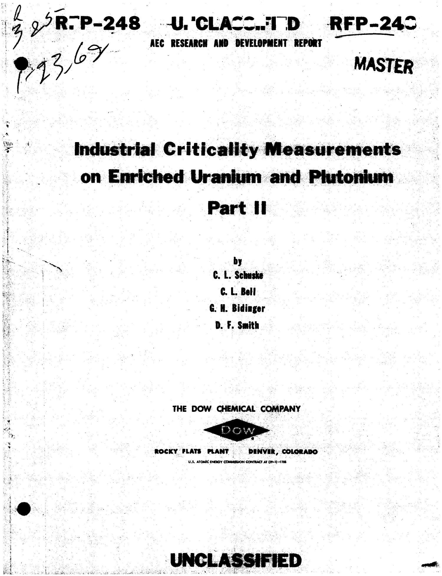 INDUSTRIAL CRITICALITY MEASUREMENTS ON ENRICHED URANIUM AND PLUTONIUM. PART II                                                                                                      [Sequence #]: 1 of 24