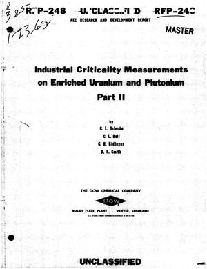 Primary view of object titled 'INDUSTRIAL CRITICALITY MEASUREMENTS ON ENRICHED URANIUM AND PLUTONIUM. PART II'.